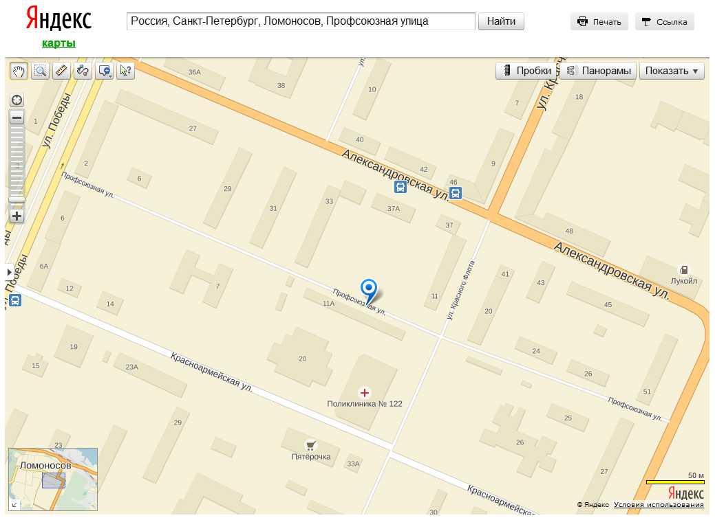 Скриншот 1. Профсоюзная улица (город Ломоносов, Петродворцовый район Санкт-Петербурга) на «Яндекс-картах».
